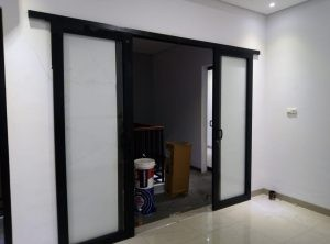 pintu sliding 2 daun upvc hitam